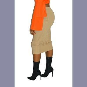 bzfashions Skirts - Tan Ponte Knit Midi Pencil Skirt